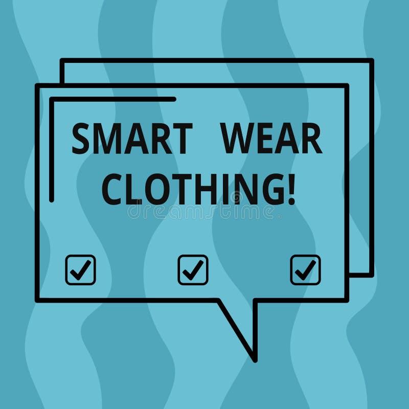 Écriture conceptuelle de main montrant l'habillement intelligent d'usage Présentation de photo d'affaires définie en tant que gén illustration libre de droits