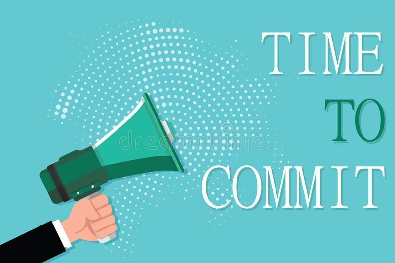 Écriture conceptuelle de main montrant l'heure de commettre Engagement ou obligation de présentation de photo d'affaires qui limi illustration stock