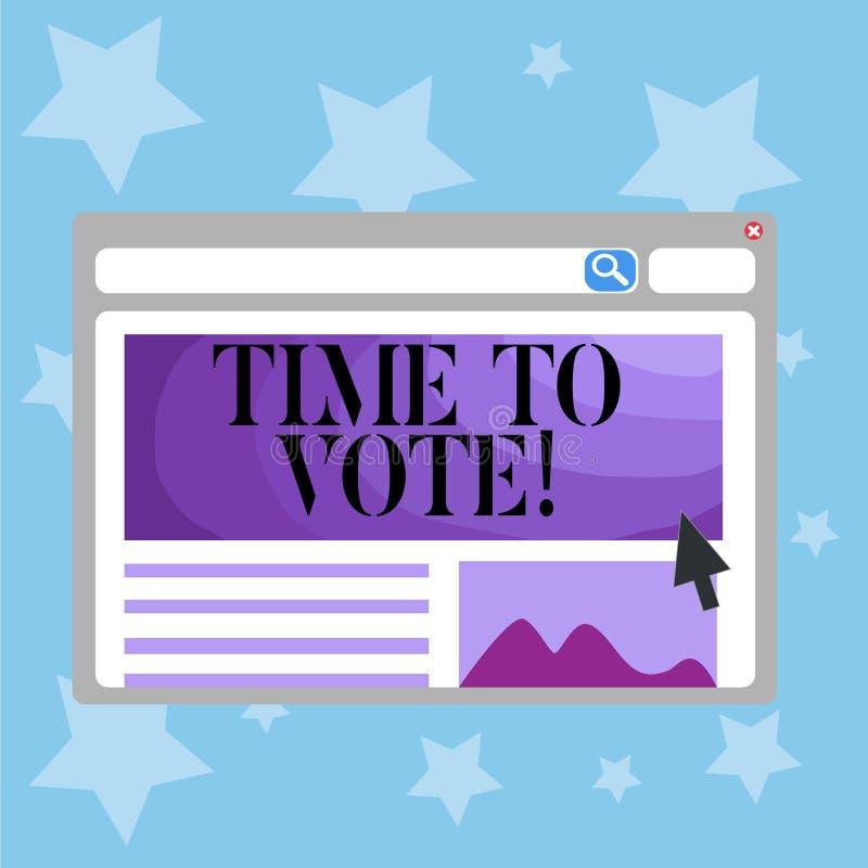 Écriture conceptuelle de main montrant l'heure de voter L'élection des textes de photo d'affaires en avant choisissent entre quel illustration stock