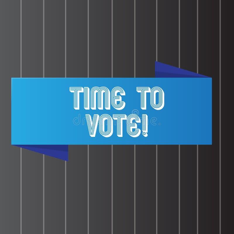 Écriture conceptuelle de main montrant l'heure de voter L'élection de présentation de photo d'affaires en avant choisissent entre illustration de vecteur