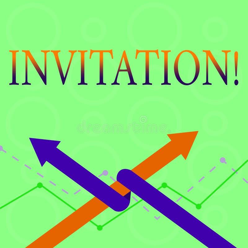 Écriture conceptuelle de main montrant l'invitation La demande écrite ou verbale des textes de photo d'affaires quelqu'un d'aller illustration de vecteur