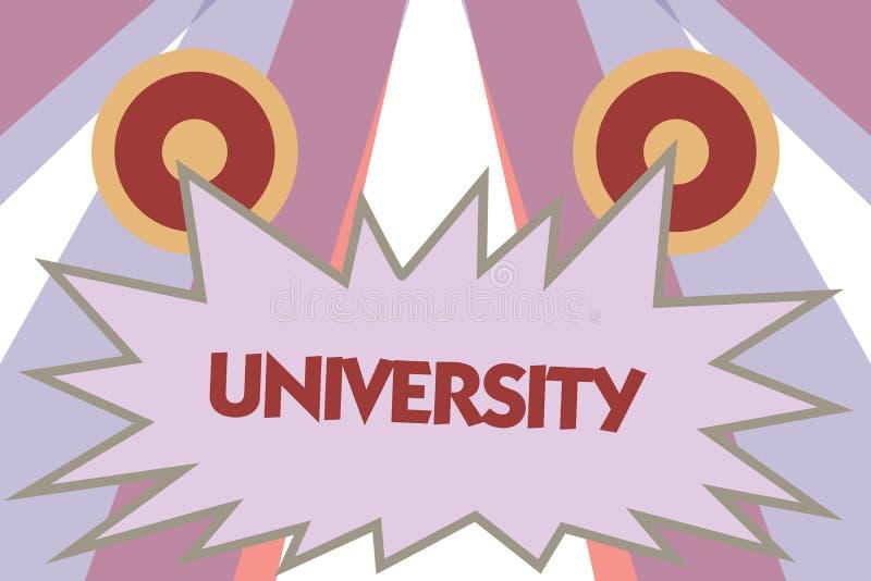 Écriture conceptuelle de main montrant l'université La photo d'affaires présentant les étudiants de haut niveau d'établissement d illustration stock