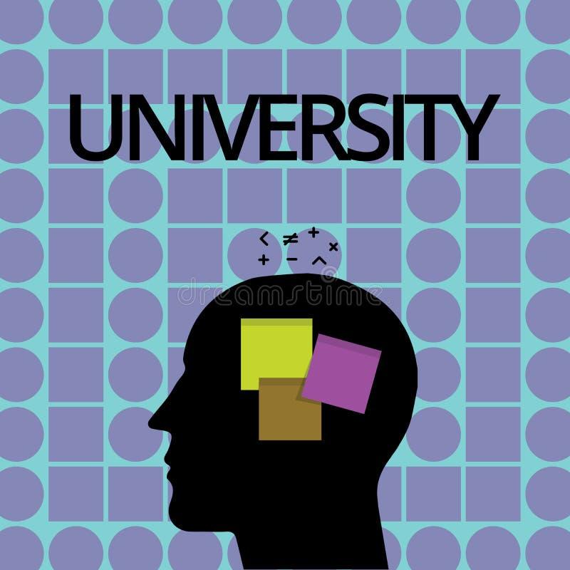 Écriture conceptuelle de main montrant l'université Les étudiants de haut niveau d'établissement d'enseignement des textes de pho illustration stock