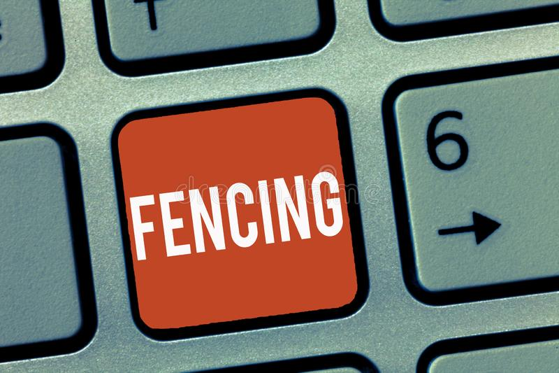 Écriture conceptuelle de main montrant la clôture Le combat de présentation de sport de concurrence de photo d'affaires avec des  images stock