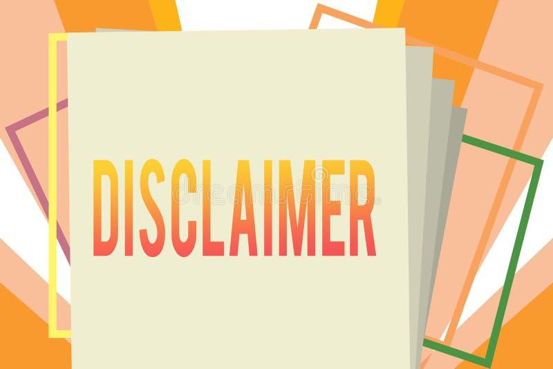 Écriture conceptuelle de main montrant la clause de non-responsabilité Déclaration de présentation de termes et conditions de pho illustration de vecteur