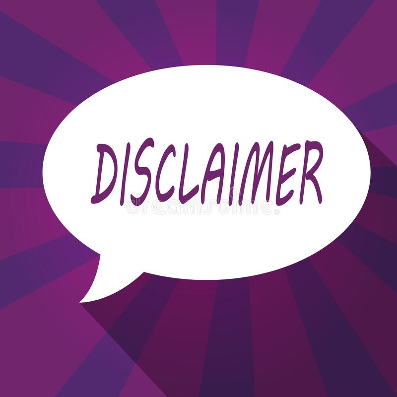 Écriture conceptuelle de main montrant la clause de non-responsabilité Déclaration de présentation de termes et conditions de pho illustration libre de droits