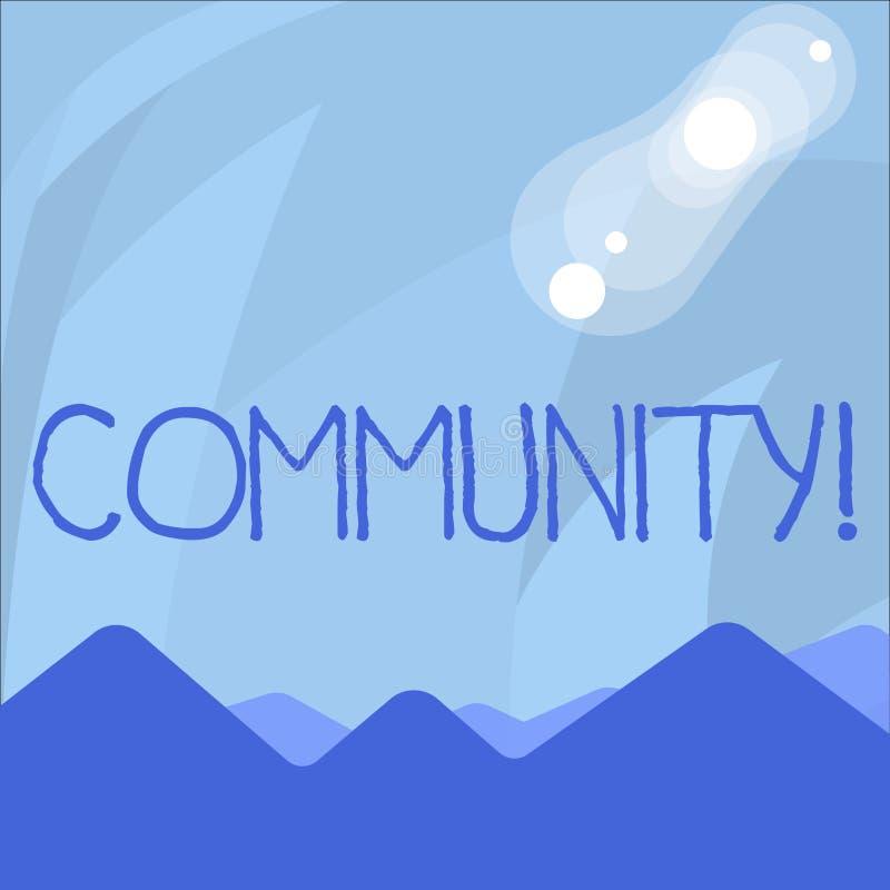 Écriture conceptuelle de main montrant la Communauté Affiliation de présentation Alliance d'état d'association de quartier de pho illustration stock