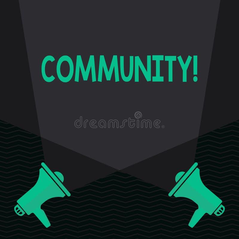 Écriture conceptuelle de main montrant la Communauté Unité d'Alliance d'affiliation d'état d'association de quartier des textes d illustration de vecteur