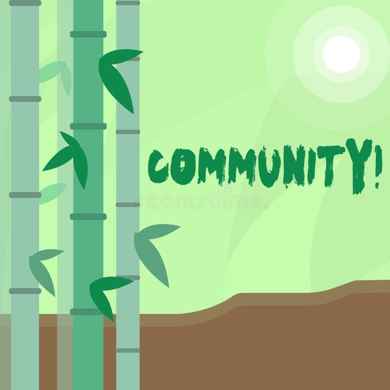 Écriture conceptuelle de main montrant la Communauté Unité d'Alliance d'affiliation d'état d'association de quartier des textes d illustration stock