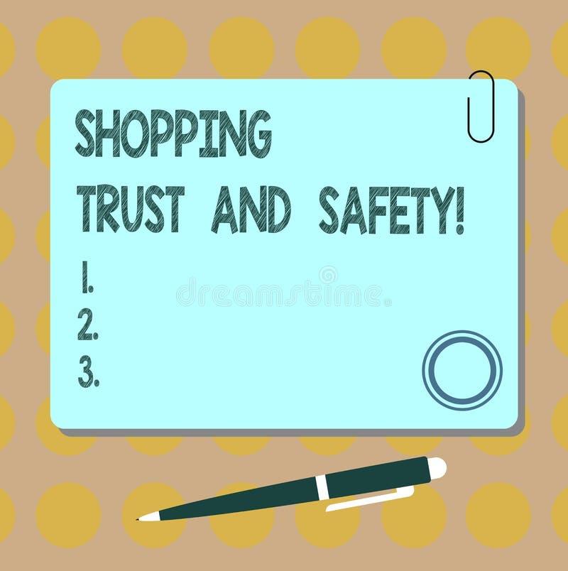 Écriture conceptuelle de main montrant la confiance et la sécurité de achat E illustration de vecteur