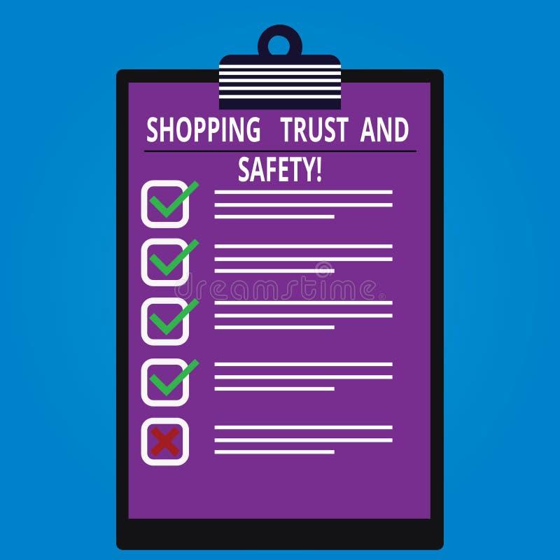 Écriture conceptuelle de main montrant la confiance et la sécurité de achat E illustration stock