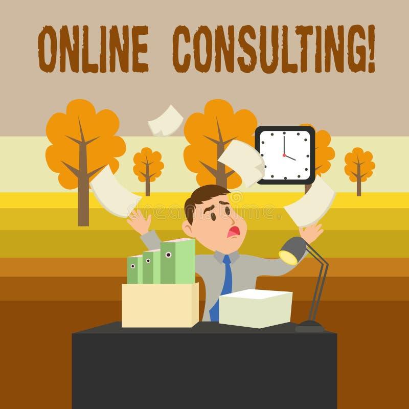 Écriture conceptuelle de main montrant la consultation en ligne Photo d'affaires présentant pour obtenir l'information ou le cons illustration stock