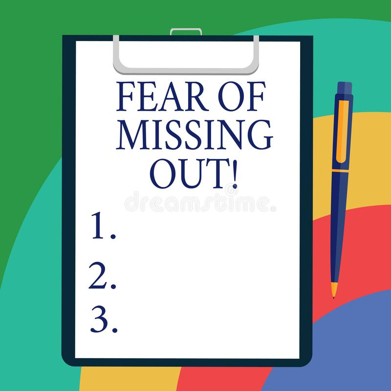 Écriture conceptuelle de main montrant la crainte de manquer  Présentation de photo d'affaires effrayée de perdre quelque chose o illustration de vecteur