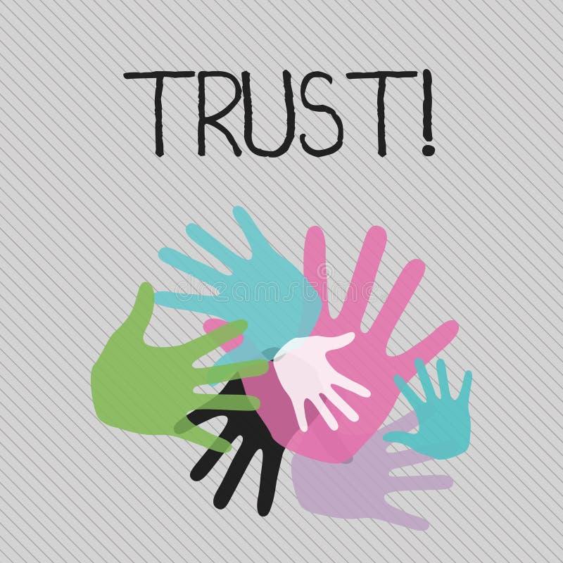 Écriture conceptuelle de main montrant la croyance des textes de photo d'affaires de confiance dans la confiance de capacité de v illustration stock