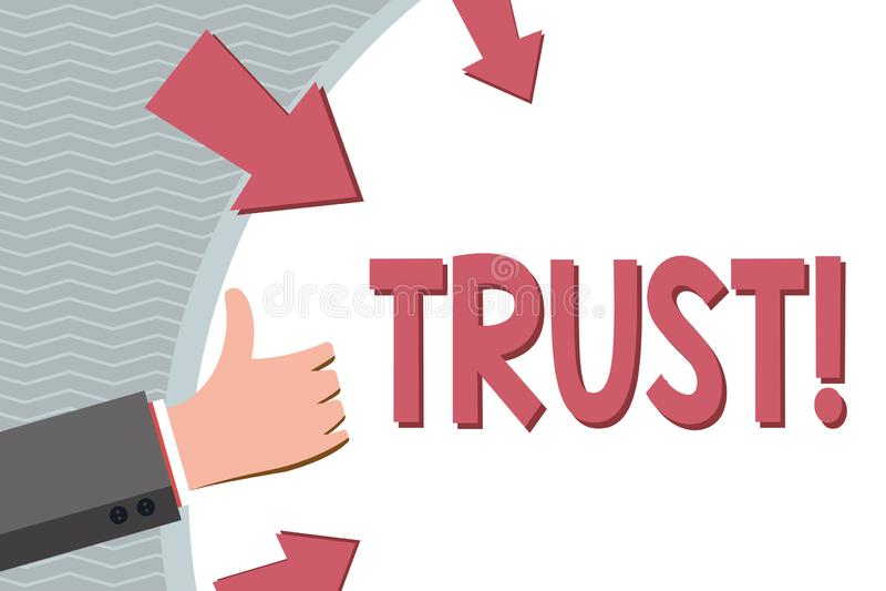 Écriture conceptuelle de main montrant la croyance de présentation de photo d'affaires de confiance dans la confiance de capacité illustration stock