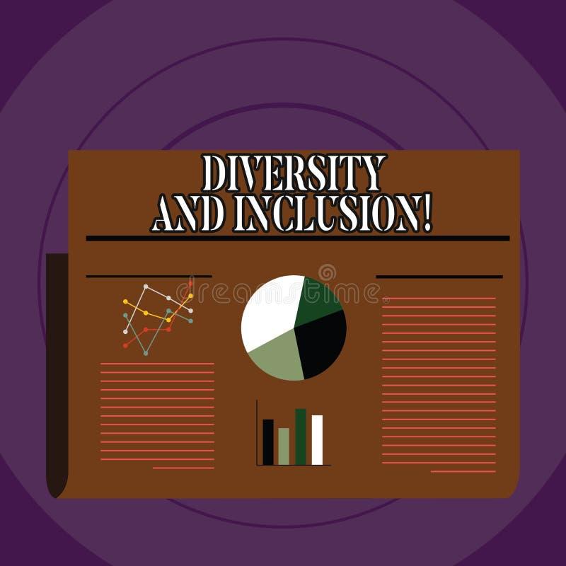 Écriture conceptuelle de main montrant la diversité et l'inclusion La différence de huanalysis de gamme des textes de photo d'aff illustration de vecteur