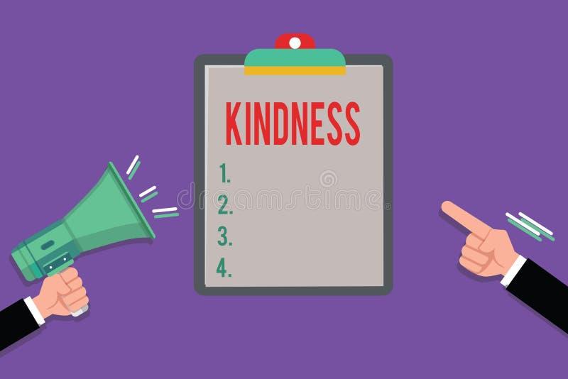 Écriture conceptuelle de main montrant la gentillesse Qualité de présentation de photo d'affaires d'être généreux et prévenant am illustration stock