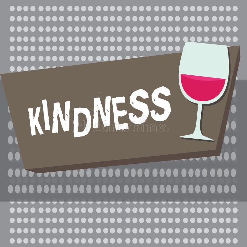 Écriture conceptuelle de main montrant la gentillesse Qualité de présentation de photo d'affaires d'être généreux et prévenant am illustration libre de droits