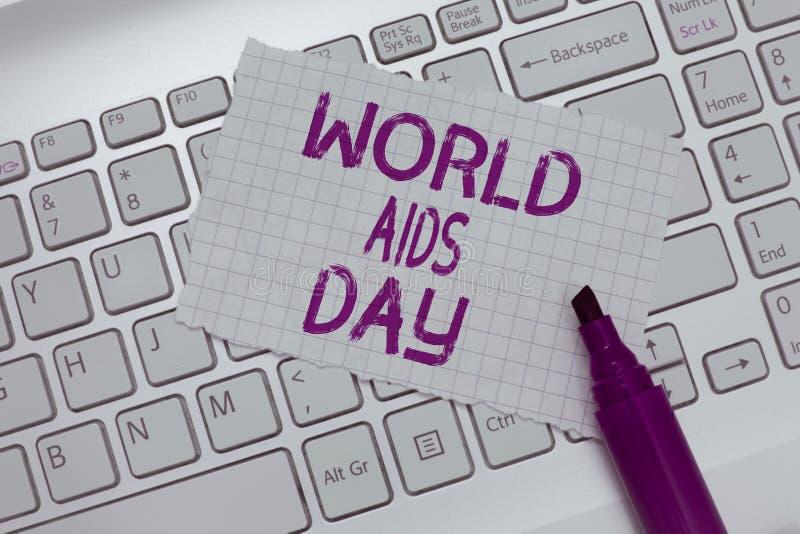 Écriture conceptuelle de main montrant la Journée mondiale contre le SIDA Les affaires photo texte 1er décembre ont consacré à so photos libres de droits