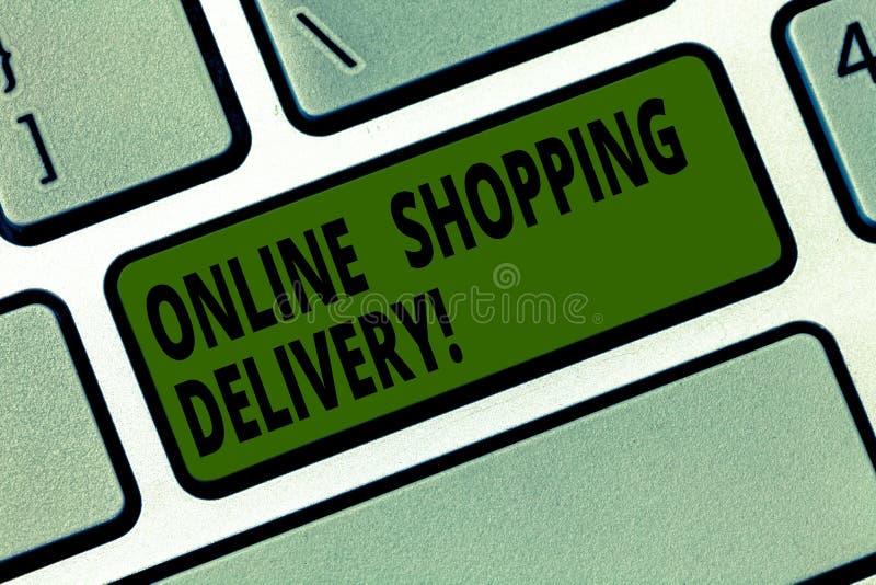 Écriture conceptuelle de main montrant la livraison de achat en ligne Processus des textes de photo d'affaires d'embarquer un art illustration de vecteur