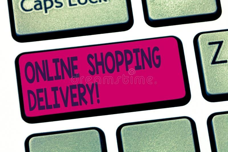 Écriture conceptuelle de main montrant la livraison de achat en ligne Processus des textes de photo d'affaires d'embarquer un art illustration stock