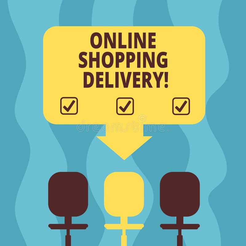 Écriture conceptuelle de main montrant la livraison de achat en ligne Processus de présentation de photo d'affaires d'embarquer u illustration de vecteur
