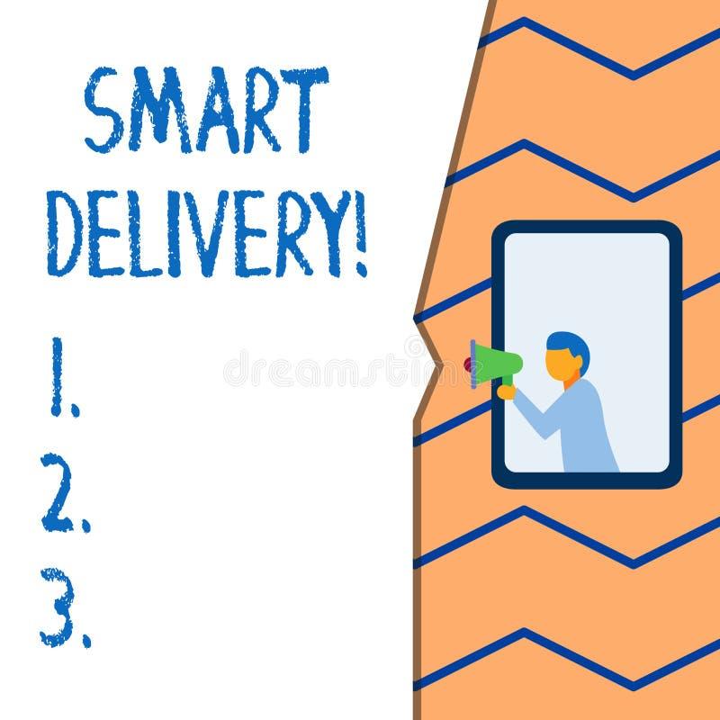Écriture conceptuelle de main montrant la livraison futée Solution mobile des textes de photo d'affaires pour livrer et transport illustration libre de droits
