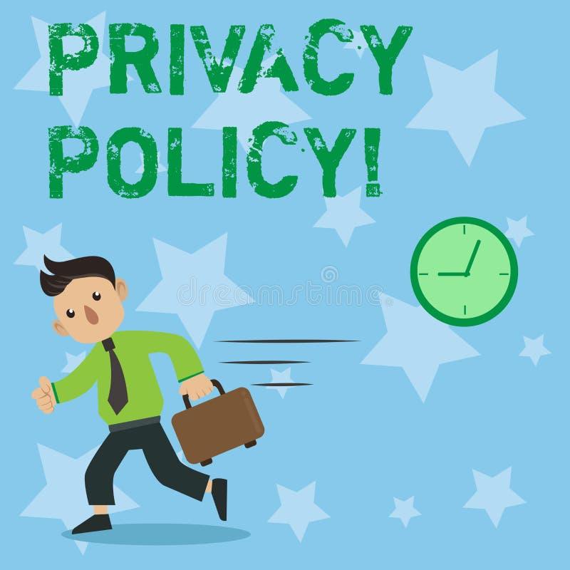 Écriture conceptuelle de main montrant la politique de confidentialité Données confidentielles de présentation de protection des  illustration libre de droits