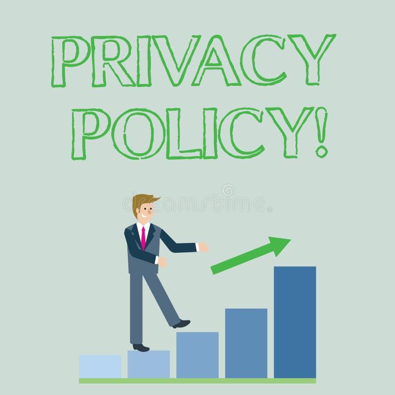 Écriture conceptuelle de main montrant la politique de confidentialité Données confidentielles de présentation de protection des  illustration stock