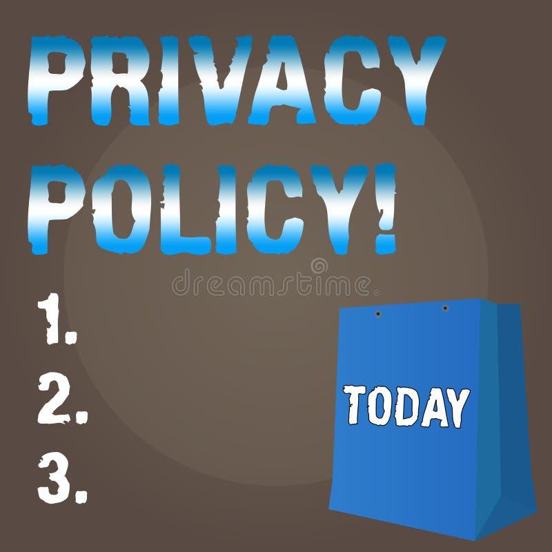 Écriture conceptuelle de main montrant la politique de confidentialité Données confidentielles de protection des données de docum illustration stock