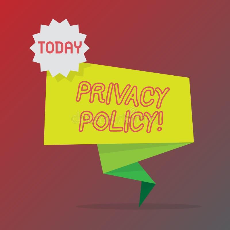Écriture conceptuelle de main montrant la politique de confidentialité Données confidentielles de protection des données de docum illustration libre de droits