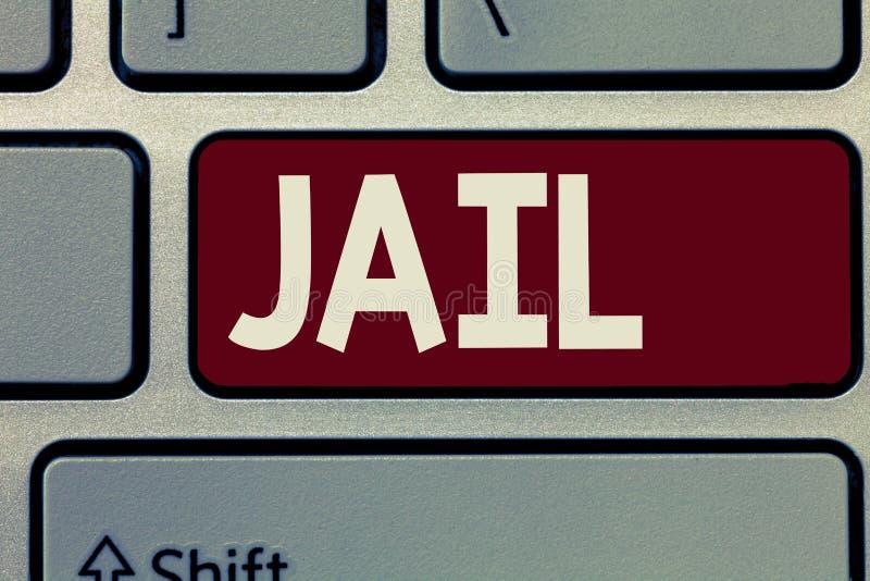 Écriture conceptuelle de main montrant la prison Endroit de présentation de photo d'affaires pour l'emprisonnement des personnes  photo libre de droits
