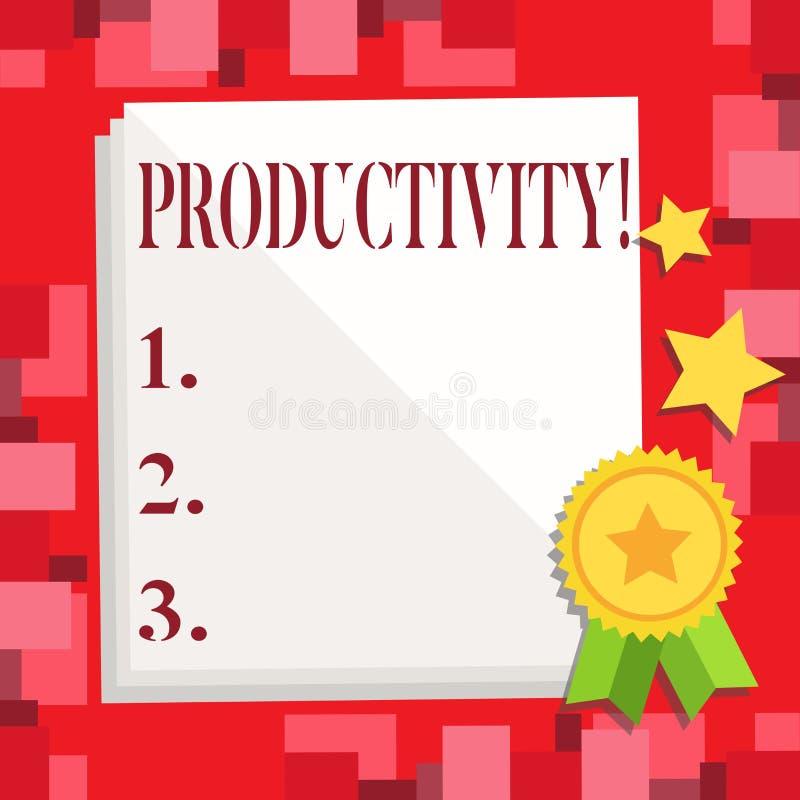 Écriture conceptuelle de main montrant la productivité Photo d'affaires présentant le grand succès de perforanalysisce de travail illustration libre de droits