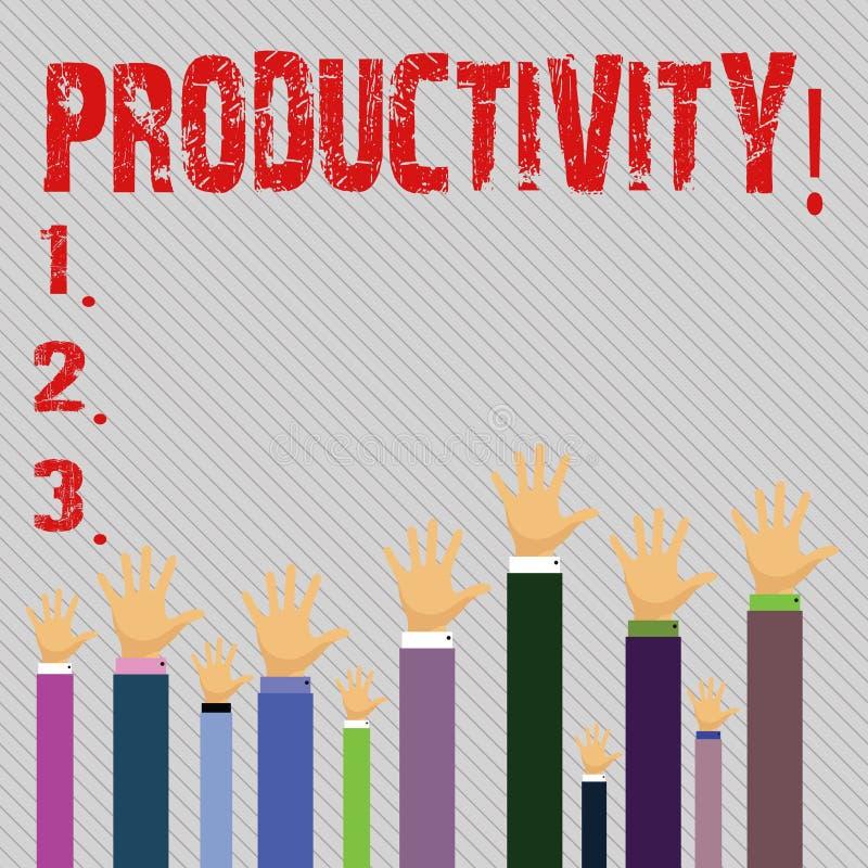 Écriture conceptuelle de main montrant la productivité Succès de perforanalysisce de travail efficace des textes de photo d'affai illustration libre de droits