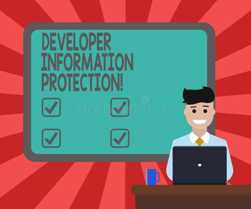 Écriture conceptuelle de main montrant la protection de l'information de promoteur L'information importante de sauvegarde des tex illustration de vecteur
