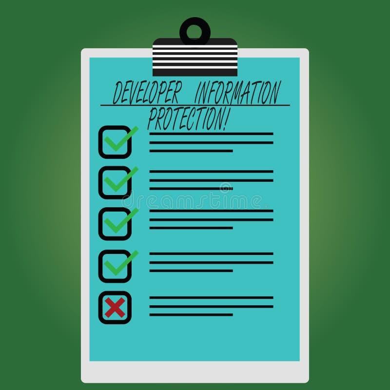 Écriture conceptuelle de main montrant la protection de l'information de promoteur L'information importante de sauvegarde des tex illustration stock