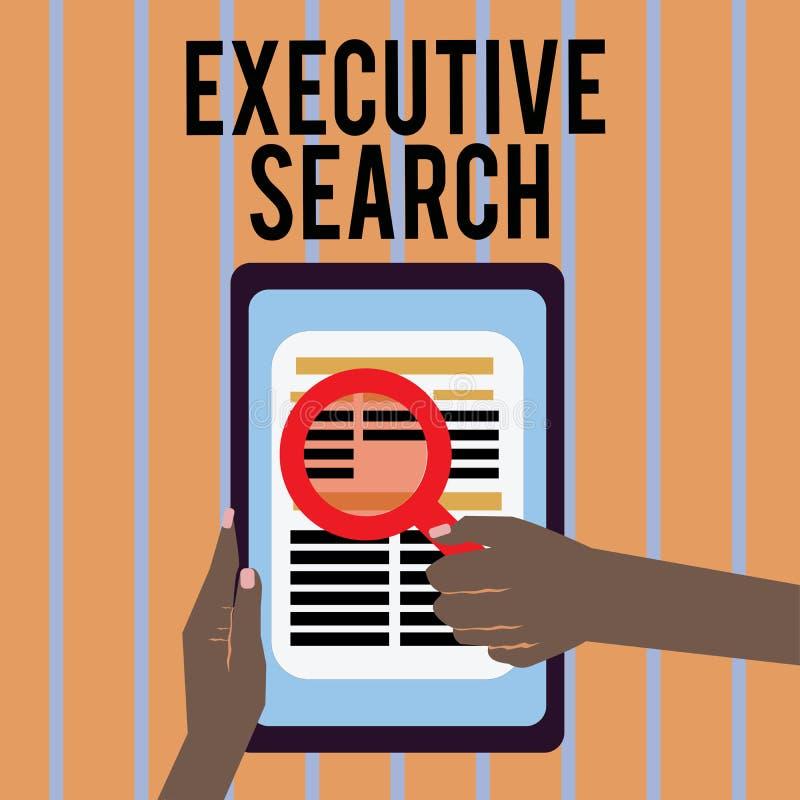 Écriture conceptuelle de main montrant la recherche exécutive Les entreprises de services de recrutement des textes de photo d'af illustration de vecteur