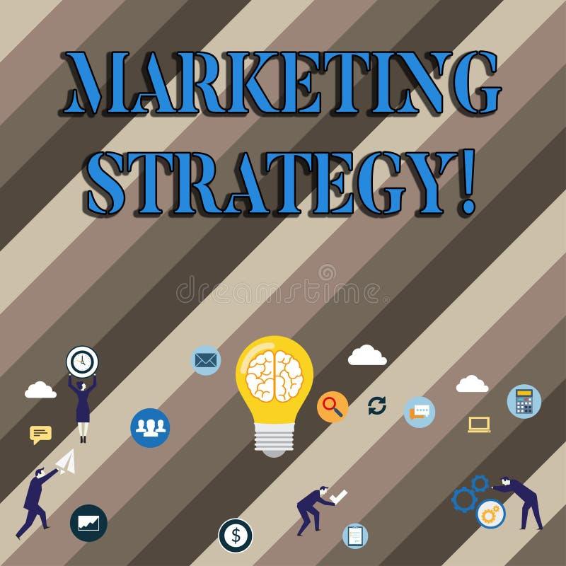 Écriture conceptuelle de main montrant la stratégie marketing Recherche de présentation de créativité de formule de plan de photo illustration de vecteur