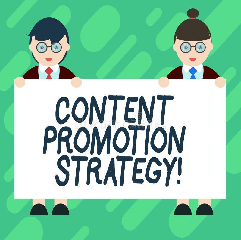 Écriture conceptuelle de main montrant la stratégie satisfaite de promotion Photo d'affaires présentant pour engager dans l'assis illustration stock