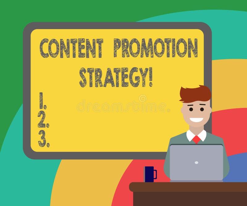 Écriture conceptuelle de main montrant la stratégie satisfaite de promotion Photo d'affaires présentant pour engager dans l'assis illustration libre de droits