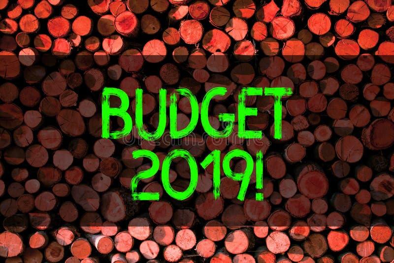Écriture conceptuelle de main montrant le budget 2019 Évaluation de présentation de photo d'affaires des revenus et dépenses pour photographie stock libre de droits