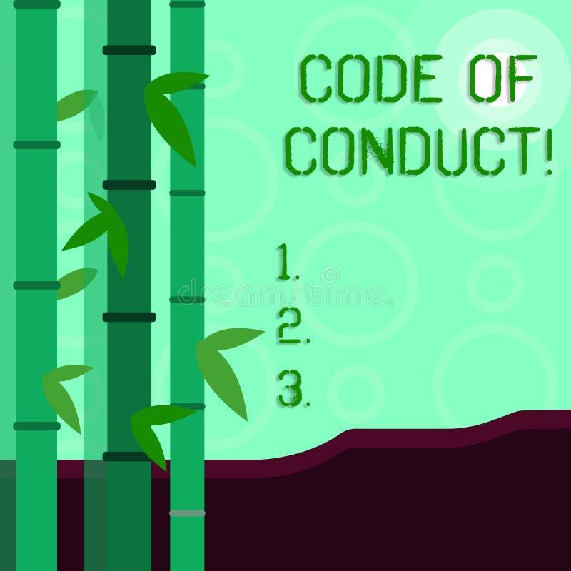 Écriture conceptuelle de main montrant le code de conduite La présentation de photo d'affaires suivent des principes et des norme illustration de vecteur