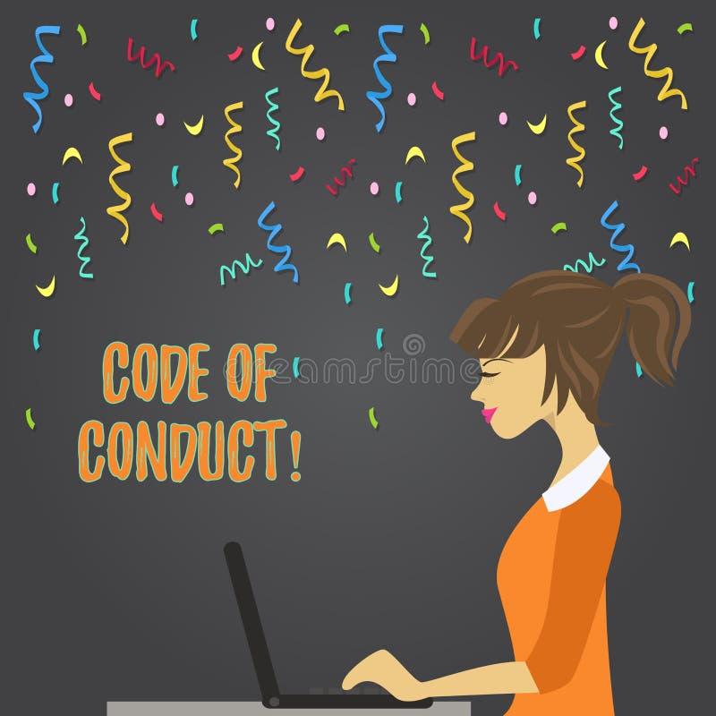 Écriture conceptuelle de main montrant le code de conduite La présentation de photo d'affaires suivent des principes et des norme illustration libre de droits