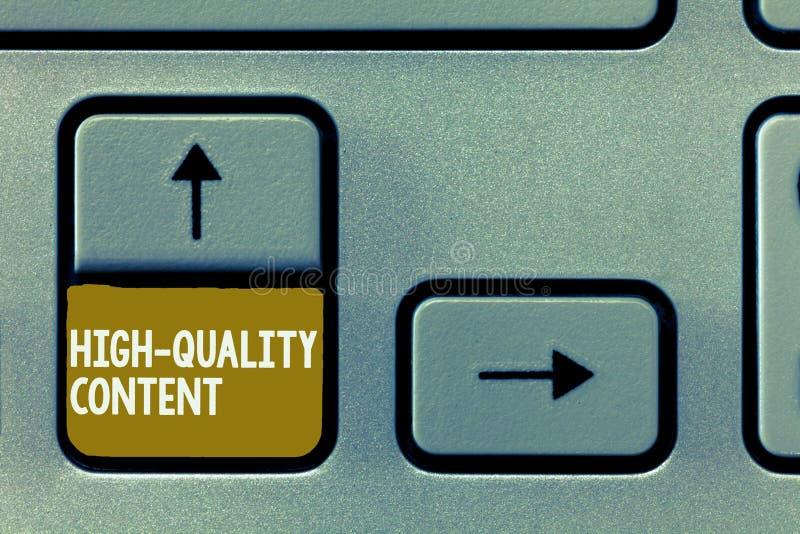 Écriture conceptuelle de main montrant le contenu de haute qualité Le site Web de présentation de photo d'affaires est s'engager  photo libre de droits