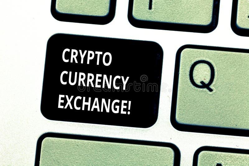 Écriture conceptuelle de main montrant le crypto change  Commerce de présentation de photo d'affaires des devises numériques pour photographie stock
