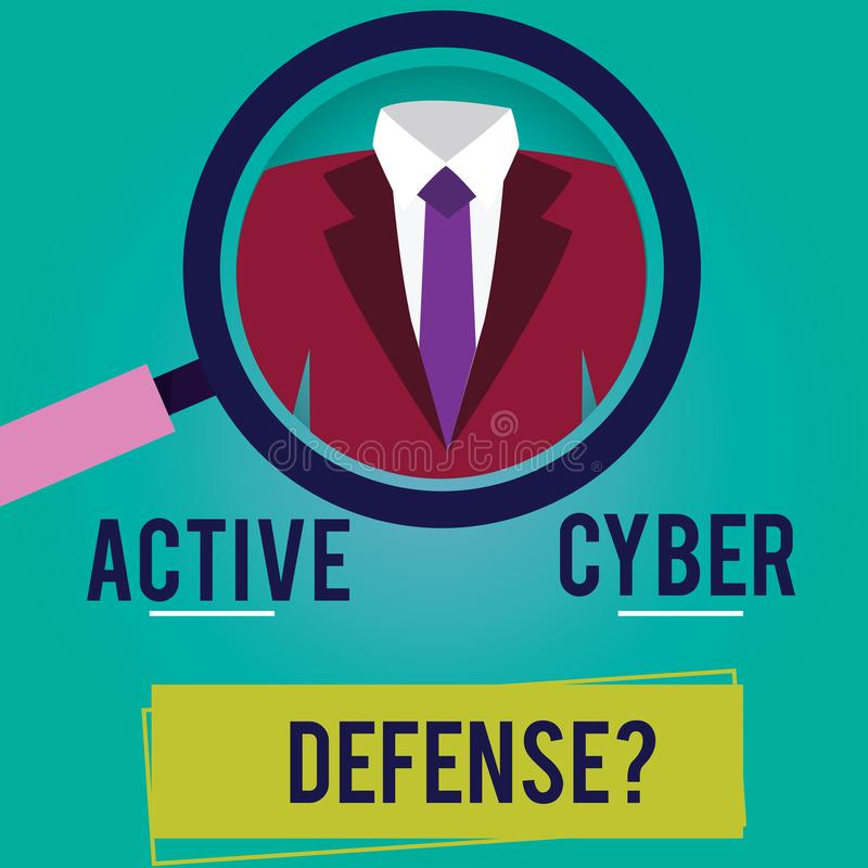 Écriture conceptuelle de main montrant le Cyber actif Defensequestion Action de présentation de photo d'affaires d'avance à s'opp illustration libre de droits