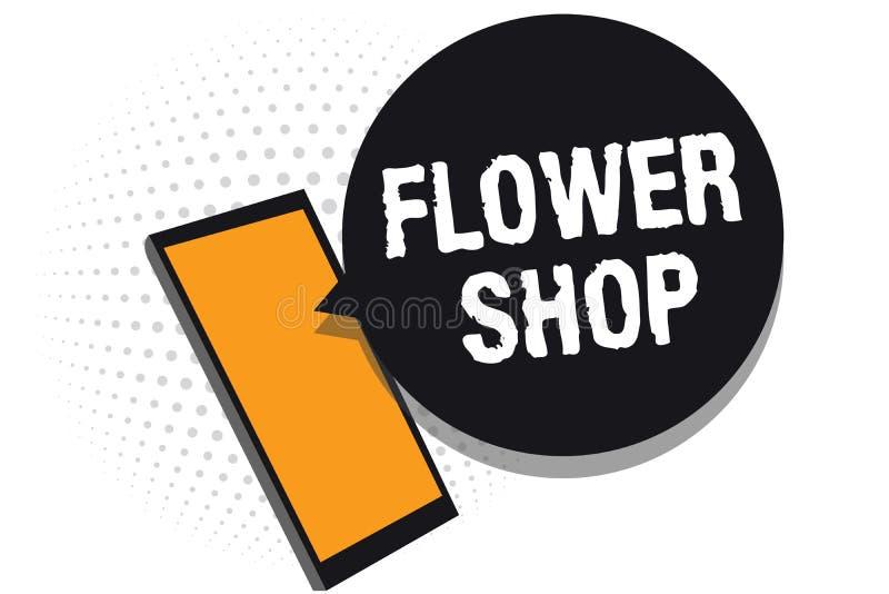 Écriture conceptuelle de main montrant le fleuriste Texte de photo d'affaires où des fleurs coupées sont vendues avec des décorat illustration de vecteur