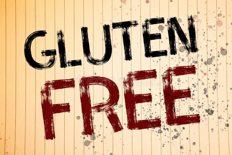 Écriture conceptuelle de main montrant le gluten gratuit Les photos d'affaires présentant le régime avec des produits ne contenan photos libres de droits