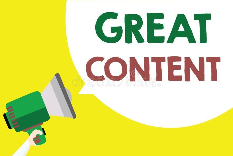 Écriture conceptuelle de main montrant le grand contenu Applicable lisible de motivation de satisfaction des textes de photo d'af illustration de vecteur