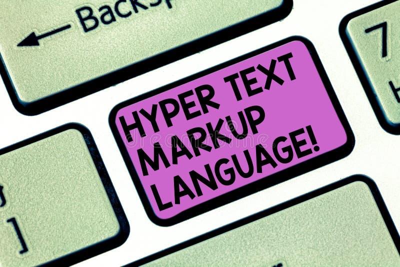 Écriture conceptuelle de main montrant le langage de balisage hyper des textes Photo d'affaires présentant des langues standard p photos stock